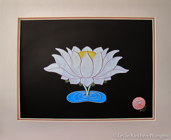 Lotus print, matted for framing.