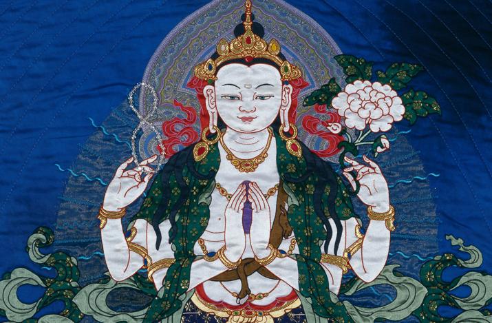 Chenrezig silk thangka by Leslie Rinchen-Wongmo