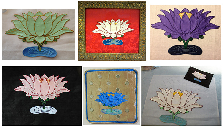 Students in the Stitching Buddhas Virtual Apprentice Program learn the fundamental steps of Tibetan appliqué while stitching Lotus flowers. The Lotus represents enlightenment, arising unstained from the mud of the world.