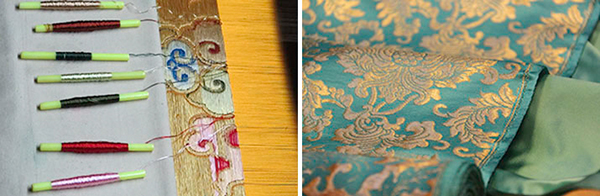 Special brocade is woven in Varanasi, India for framing thangkas.