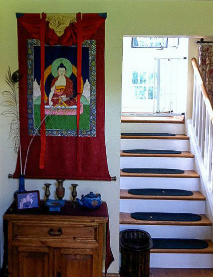 Appliqué thangka by Leslie Rinchen-Wongmo hanging in a private home in California.