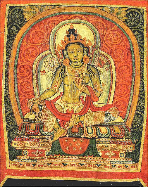 FIG 1 Green Tara. China, 13th century, kesi (slit tapestry). Asian Art Museum of San Francisco. From studyblue.com