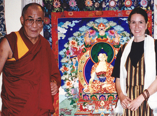 His Holiness the Dalai Lama with the author and one of her appliqué thangkas, Dharamsala, 1997. Image courtesy of the author