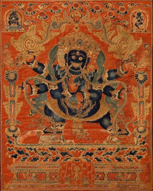 Vajrapani. China, 14th century, kesi (slit tapestry). Rubin Museum of Art. From tumblr.com