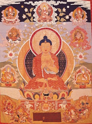 Monumental thangka depicting the Buddha of the Future, Maitreya, flanked by the Eighth Dalai Lama, Jamphel Gyatso, and his tutor, Yongtsin Yeshe Gyaltsen. Commissioned by the Eighth Dalai Lama for the benefit of his tutor and the posterity of the Buddhist faith. 1793, silk appliqué, Norton Simon Museum. From threadsofawakening.com
