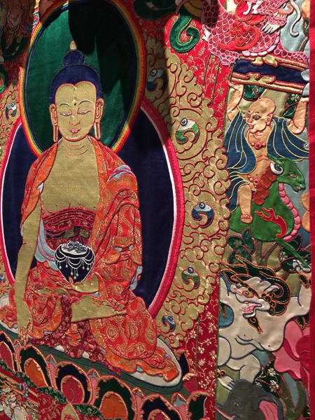 Detail of the textural quality of Buddha Appliqué by Leslie Rinchen-Wongmo at Fiber Art Master Works, Fresno Art Museum, May 20 to Aug 28, 2016.